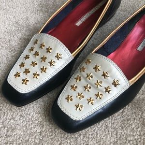 Enzo Angiolini Red White Blue Star Leather Loafers